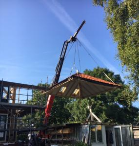 prevab dak op vierkant plaatsen BobbeldijkRobert Bruijn verreiker verhuur